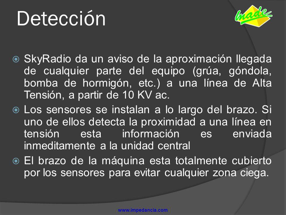 Detección SkyRadio da un aviso de la aproximación llegada de cualquier parte del equipo (grúa, góndola, bomba de hormigón, etc.) a una línea de Alta T