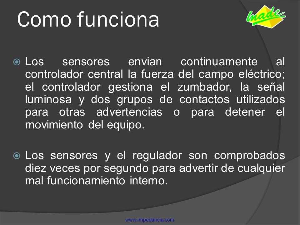 Como funciona Los sensores envian continuamente al controlador central la fuerza del campo eléctrico; el controlador gestiona el zumbador, la señal lu