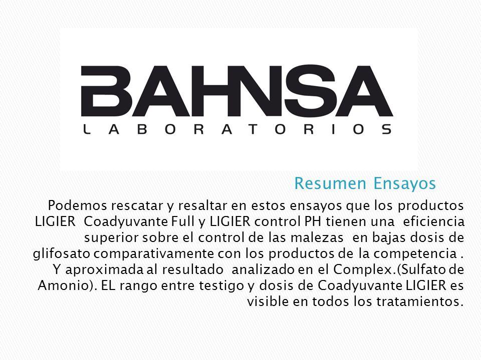 Podemos rescatar y resaltar en estos ensayos que los productos LIGIER Coadyuvante Full y LIGIER control PH tienen una eficiencia superior sobre el con