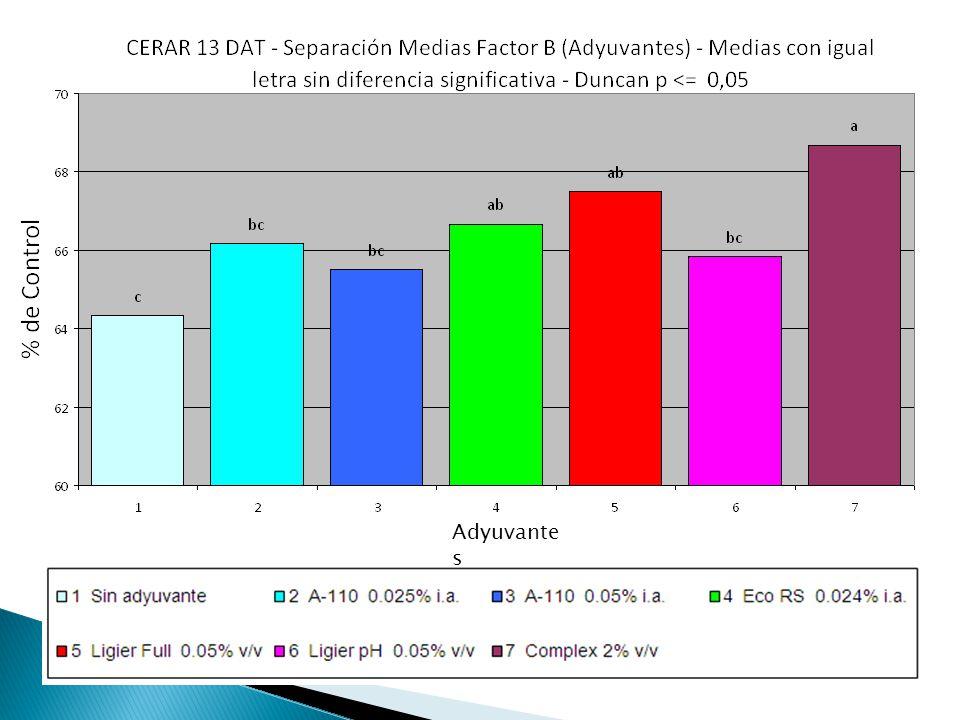 Comparación de aplicaciónes de glifosato con éteres de alcoholes grasos y otros adyuvantes del mercado.