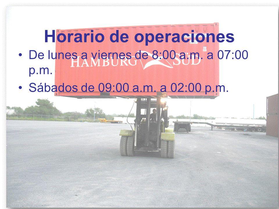 Horario de operaciones De lunes a viernes de 8:00 a.m. a 07:00 p.m. Sábados de 09:00 a.m. a 02:00 p.m.