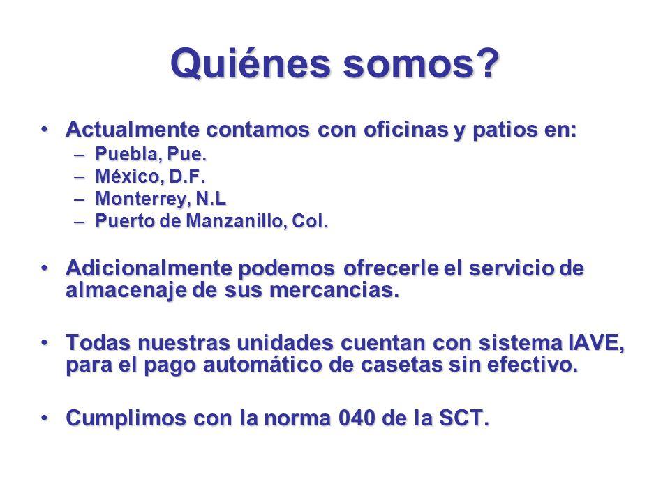 Quiénes somos? Actualmente contamos con oficinas y patios en:Actualmente contamos con oficinas y patios en: –Puebla, Pue. –México, D.F. –Monterrey, N.