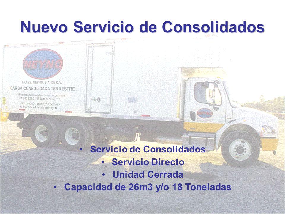 Nuevo Servicio de Consolidados Servicio de Consolidados Servicio Directo Unidad Cerrada Capacidad de 26m3 y/o 18 Toneladas