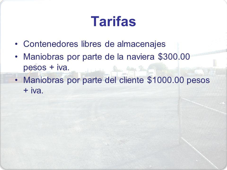 Tarifas Contenedores libres de almacenajes Maniobras por parte de la naviera $300.00 pesos + iva. Maniobras por parte del cliente $1000.00 pesos + iva