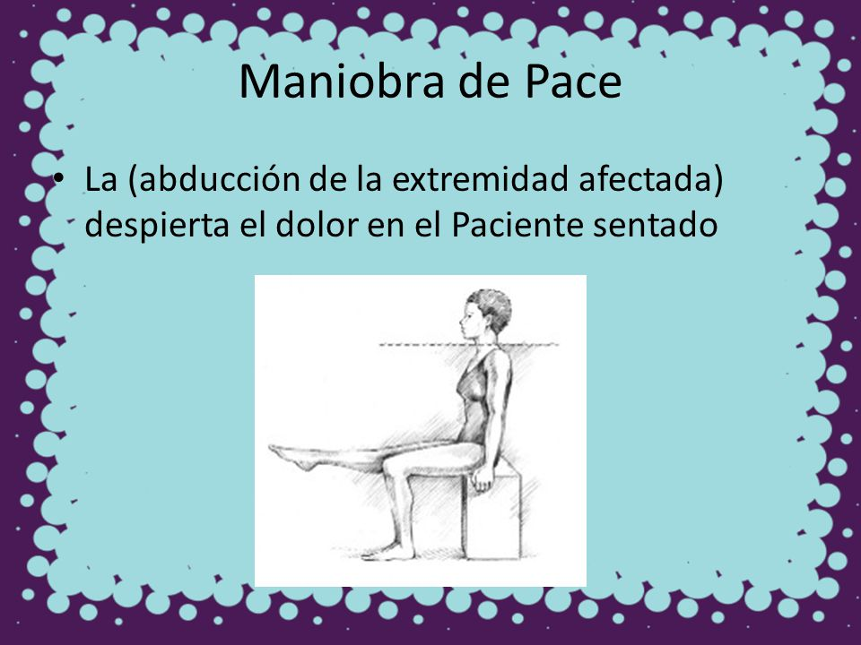 Maniobra de Pace La (abducción de la extremidad afectada) despierta el dolor en el Paciente sentado
