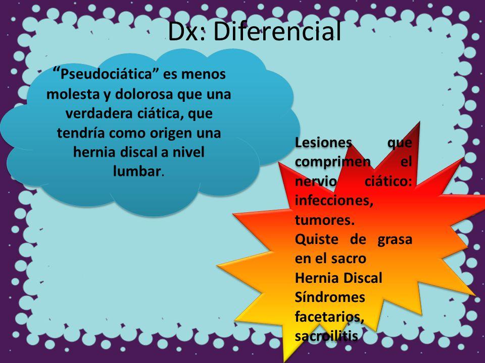 Dx: Diferencial Pseudociática es menos molesta y dolorosa que una verdadera ciática, que tendría como origen una hernia discal a nivel lumbar. Lesione