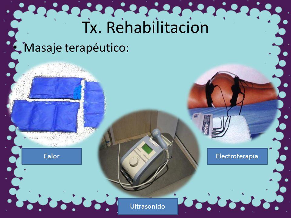 Tx. Rehabilitacion Masaje terapéutico: Calor Ultrasonido Electroterapia