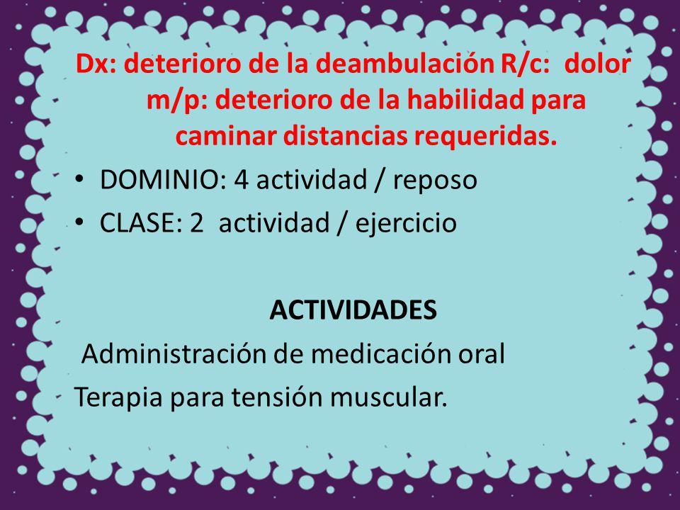 Dx: deterioro de la deambulación R/c: dolor m/p: deterioro de la habilidad para caminar distancias requeridas. DOMINIO: 4 actividad / reposo CLASE: 2