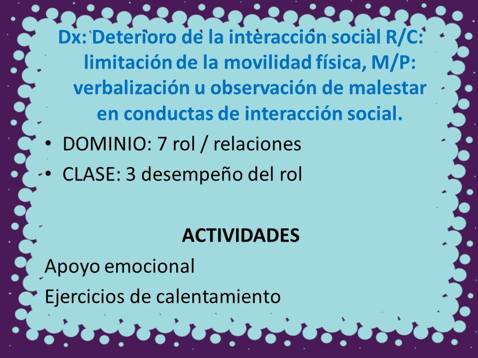 Dx: Deterioro de la interacción social R/C: limitación de la movilidad física, M/P: verbalización u observación de malestar en conductas de interacció