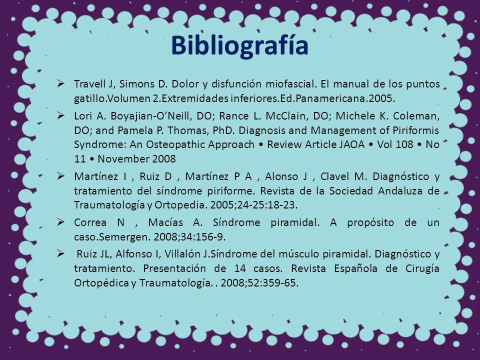 Bibliografía Travell J, Simons D. Dolor y disfunción miofascial. El manual de los puntos gatillo.Volumen 2.Extremidades inferiores.Ed.Panamericana.200