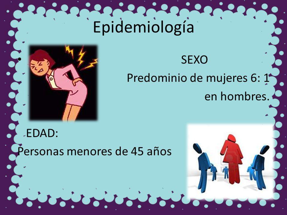 Epidemiología SEXO Predominio de mujeres 6: 1 en hombres. EDAD: Personas menores de 45 años