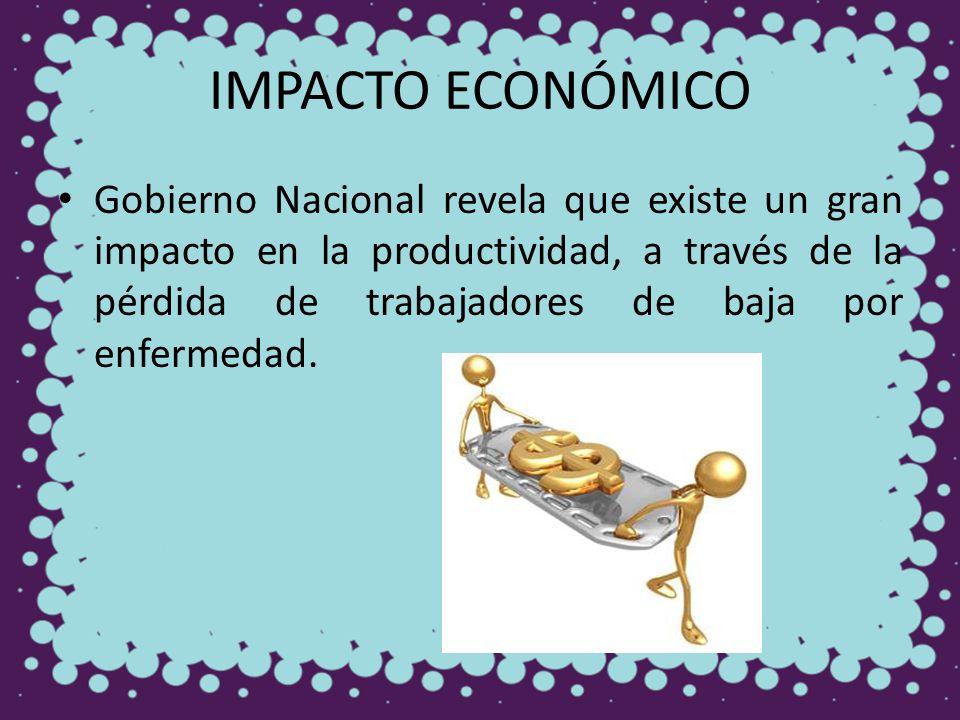 IMPACTO ECONÓMICO Gobierno Nacional revela que existe un gran impacto en la productividad, a través de la pérdida de trabajadores de baja por enfermed