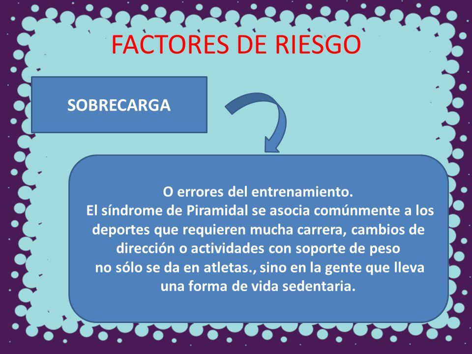 FACTORES DE RIESGO SOBRECARGA O errores del entrenamiento. El síndrome de Piramidal se asocia comúnmente a los deportes que requieren mucha carrera, c