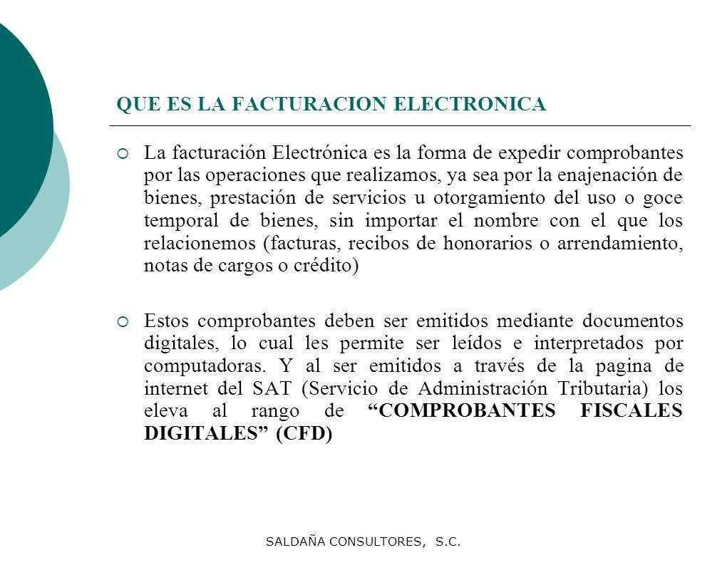 SALDAÑA CONSULTORES, S.C. QUE ES LA FACTURACION ELECTRONICA La facturación Electrónica es la forma de expedir comprobantes por las operaciones que rea
