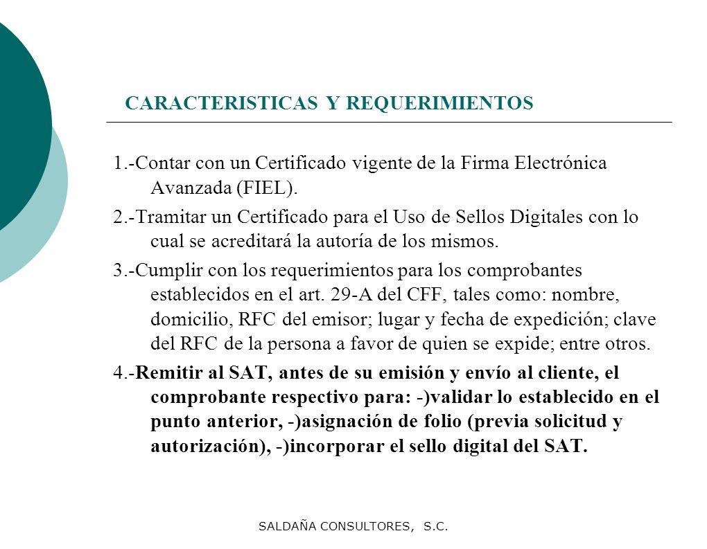SALDAÑA CONSULTORES, S.C. CARACTERISTICAS Y REQUERIMIENTOS 1.-Contar con un Certificado vigente de la Firma Electrónica Avanzada (FIEL). 2.-Tramitar u
