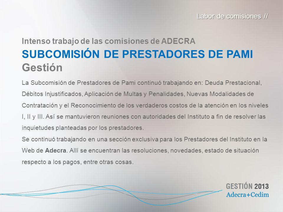 La Subcomisión de Prestadores de Pami continuó trabajando en: Deuda Prestacional, Débitos Injustificados, Aplicación de Multas y Penalidades, Nuevas M