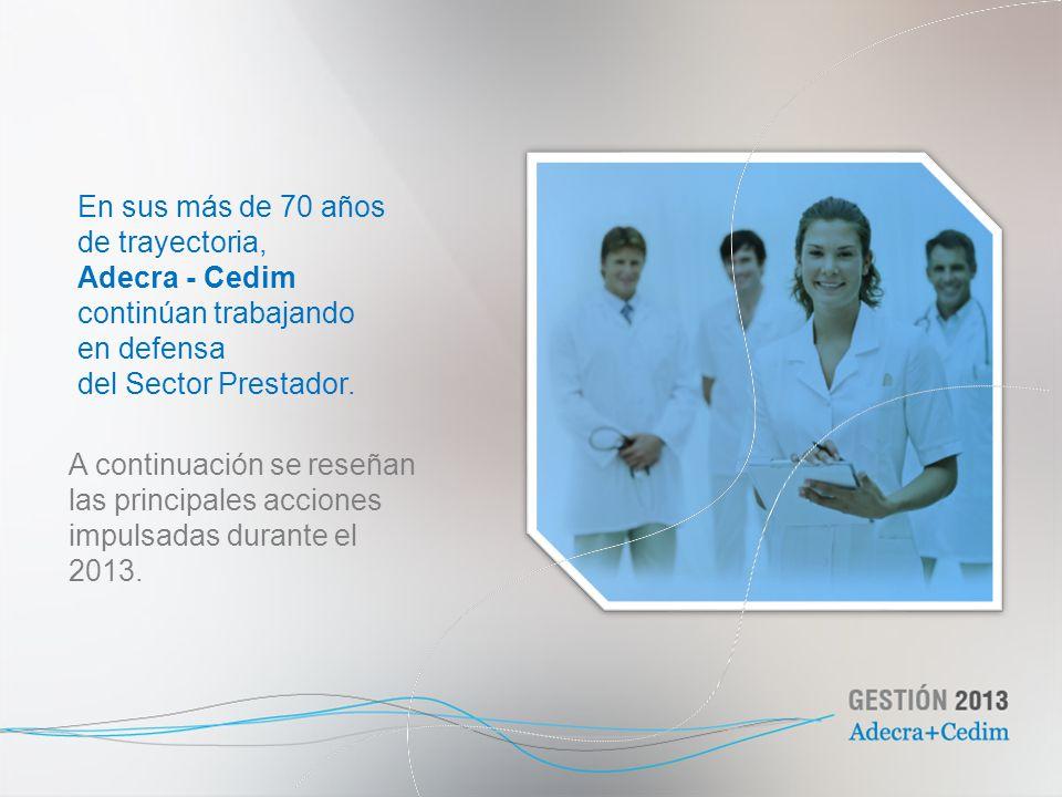 En sus más de 70 años de trayectoria, Adecra - Cedim continúan trabajando en defensa del Sector Prestador. A continuación se reseñan las principales a