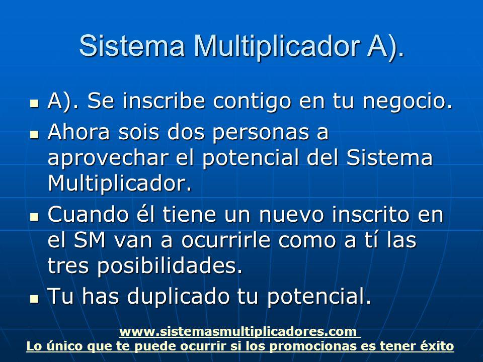 www.sistemasmultiplicadores.com Lo único que te puede ocurrir si los promocionas es tener éxito Sistema Multiplicador A).