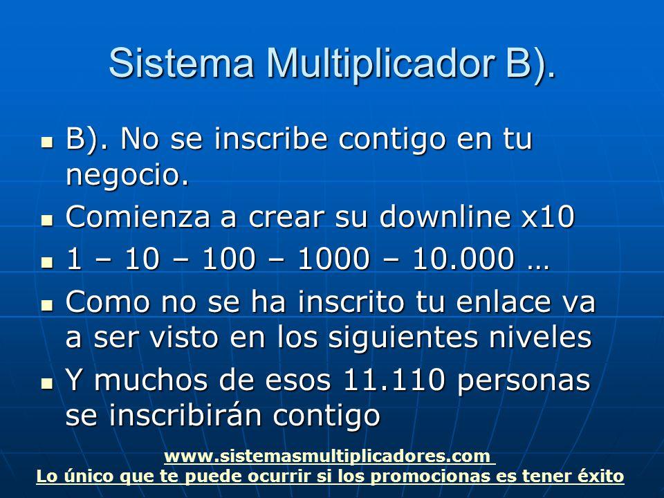 www.sistemasmultiplicadores.com Lo único que te puede ocurrir si los promocionas es tener éxito Sistema Multiplicador B).