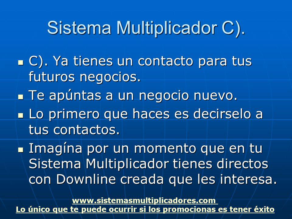 www.sistemasmultiplicadores.com Lo único que te puede ocurrir si los promocionas es tener éxito Sistema Multiplicador C).