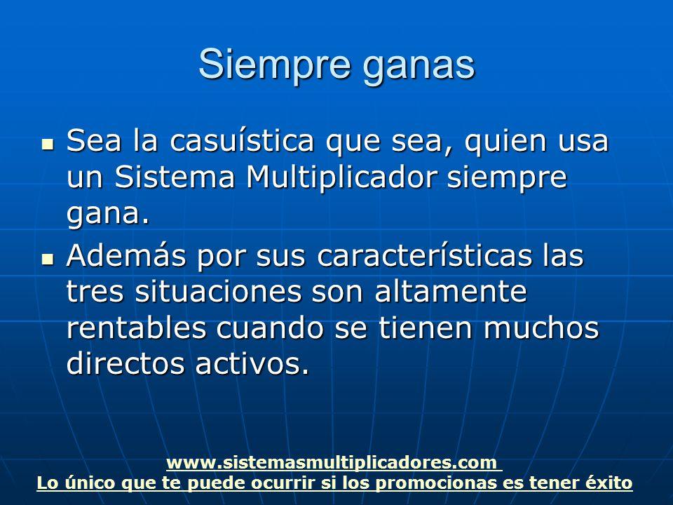 www.sistemasmultiplicadores.com Lo único que te puede ocurrir si los promocionas es tener éxito Siempre ganas Sea la casuística que sea, quien usa un Sistema Multiplicador siempre gana.