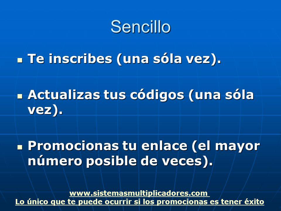 www.sistemasmultiplicadores.com Lo único que te puede ocurrir si los promocionas es tener éxitoSencillo Te inscribes (una sóla vez).
