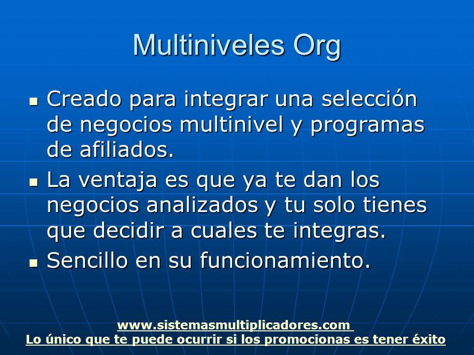 www.sistemasmultiplicadores.com Lo único que te puede ocurrir si los promocionas es tener éxito Multiniveles Org Creado para integrar una selección de negocios multinivel y programas de afiliados.