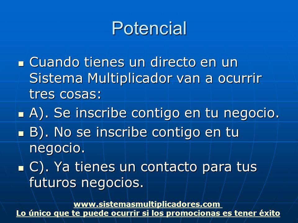 www.sistemasmultiplicadores.com Lo único que te puede ocurrir si los promocionas es tener éxitoPotencial Cuando tienes un directo en un Sistema Multiplicador van a ocurrir tres cosas: Cuando tienes un directo en un Sistema Multiplicador van a ocurrir tres cosas: A).