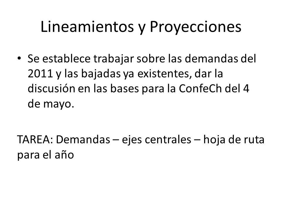 Lineamientos y Proyecciones Se establece trabajar sobre las demandas del 2011 y las bajadas ya existentes, dar la discusión en las bases para la ConfeCh del 4 de mayo.