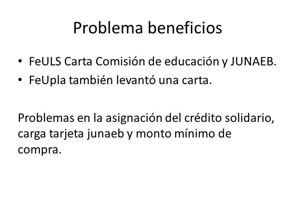 Problema beneficios FeULS Carta Comisión de educación y JUNAEB.