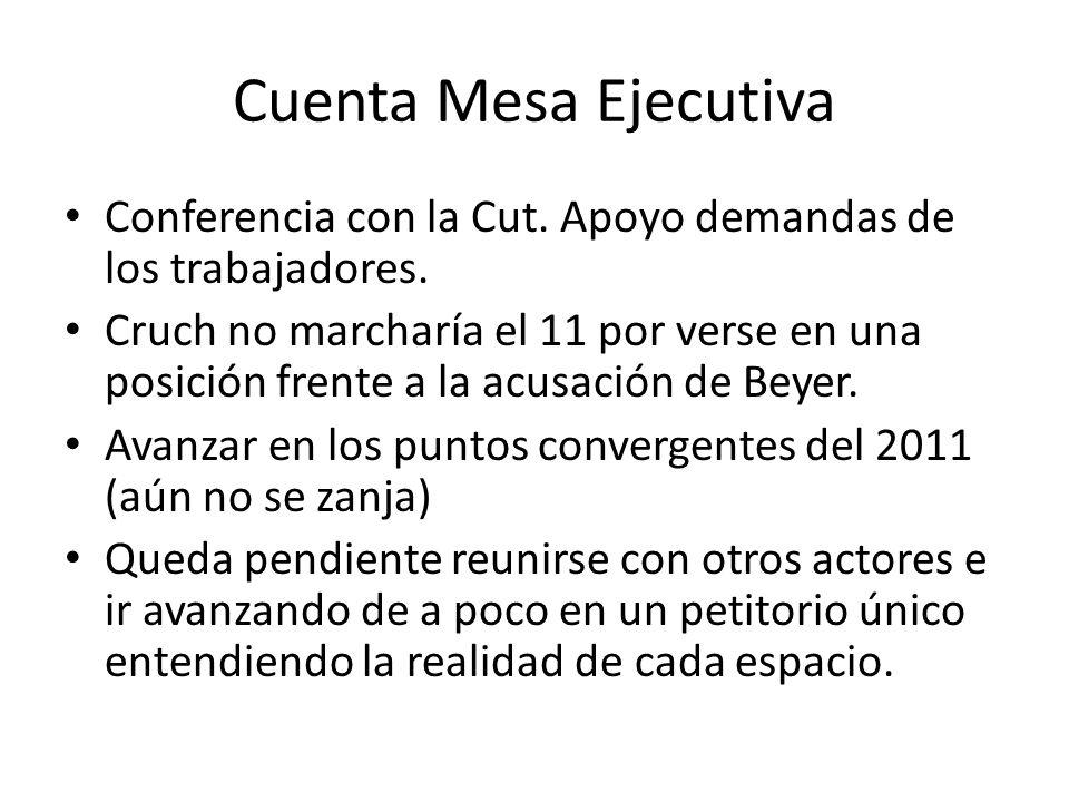 Cuenta Mesa Ejecutiva Conferencia con la Cut. Apoyo demandas de los trabajadores.