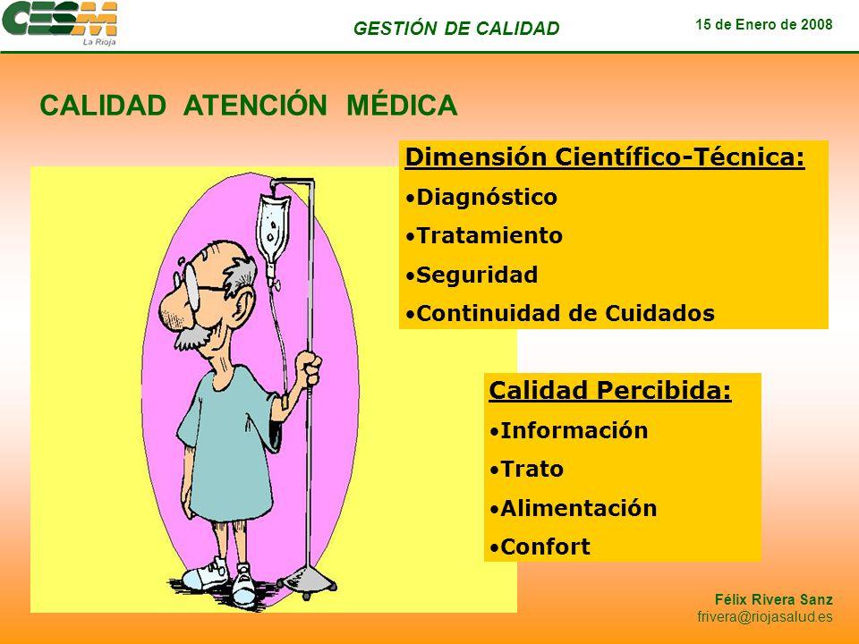GESTIÓN DE CALIDAD 15 de Enero de 2008 Félix Rivera Sanz frivera@riojasalud.es Dimensión Científico-Técnica: Diagnóstico Tratamiento Seguridad Continu