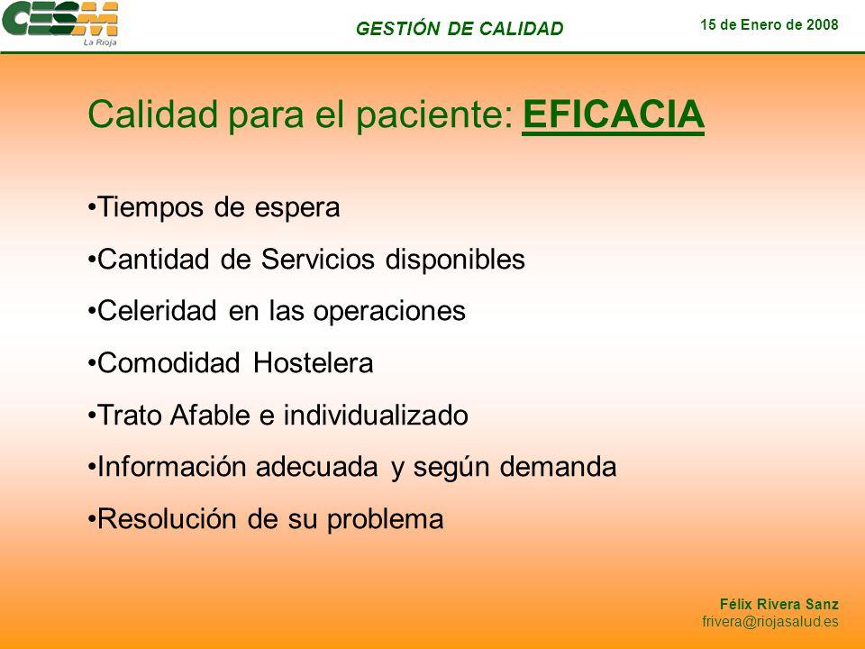 GESTIÓN DE CALIDAD 15 de Enero de 2008 Félix Rivera Sanz frivera@riojasalud.es Calidad para el paciente: EFICACIA Tiempos de espera Cantidad de Servic