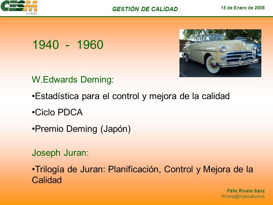 GESTIÓN DE CALIDAD 15 de Enero de 2008 Félix Rivera Sanz frivera@riojasalud.es W.Edwards Deming: Estadística para el control y mejora de la calidad Ci