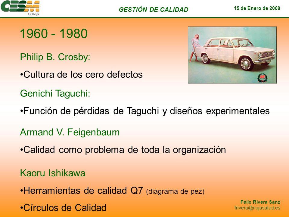GESTIÓN DE CALIDAD 15 de Enero de 2008 Félix Rivera Sanz frivera@riojasalud.es 1960 - 1980 Philip B. Crosby: Cultura de los cero defectos Genichi Tagu