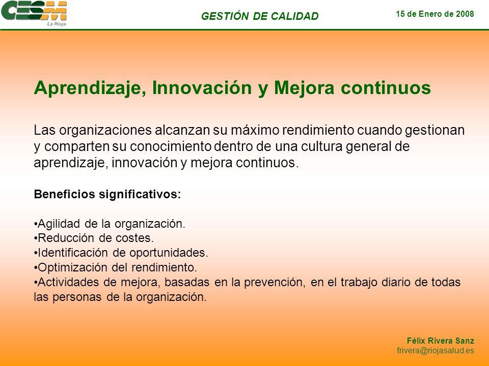GESTIÓN DE CALIDAD 15 de Enero de 2008 Félix Rivera Sanz frivera@riojasalud.es Aprendizaje, Innovación y Mejora continuos Las organizaciones alcanzan