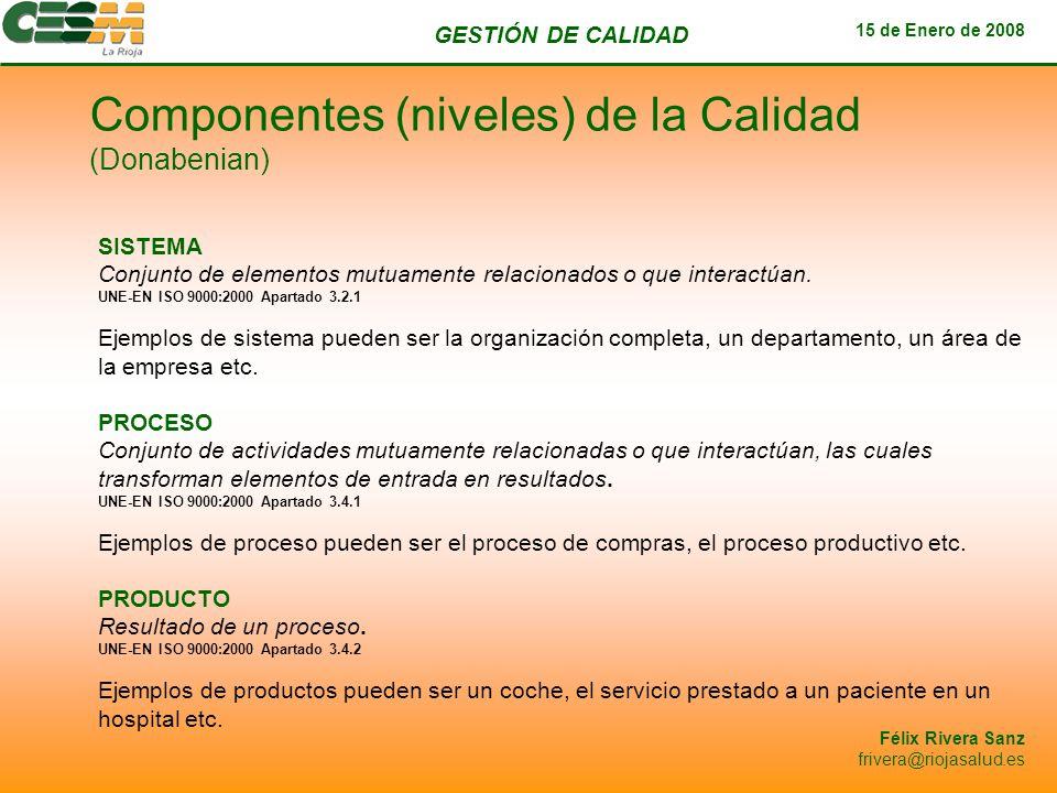 GESTIÓN DE CALIDAD 15 de Enero de 2008 Félix Rivera Sanz frivera@riojasalud.es SISTEMA Conjunto de elementos mutuamente relacionados o que interactúan