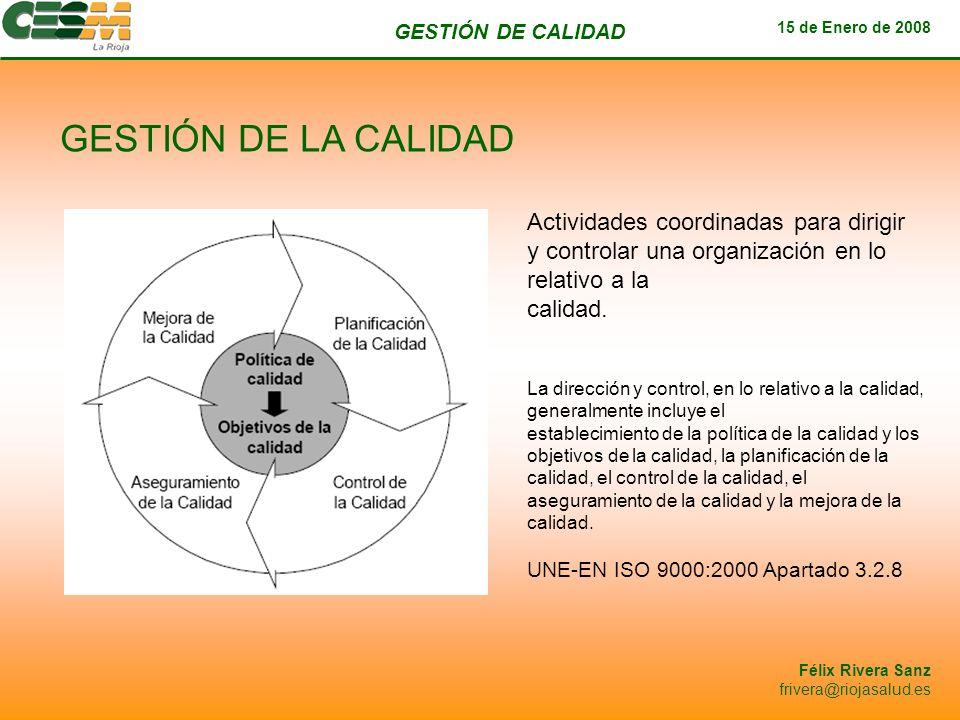 GESTIÓN DE CALIDAD 15 de Enero de 2008 Félix Rivera Sanz frivera@riojasalud.es GESTIÓN DE LA CALIDAD Actividades coordinadas para dirigir y controlar