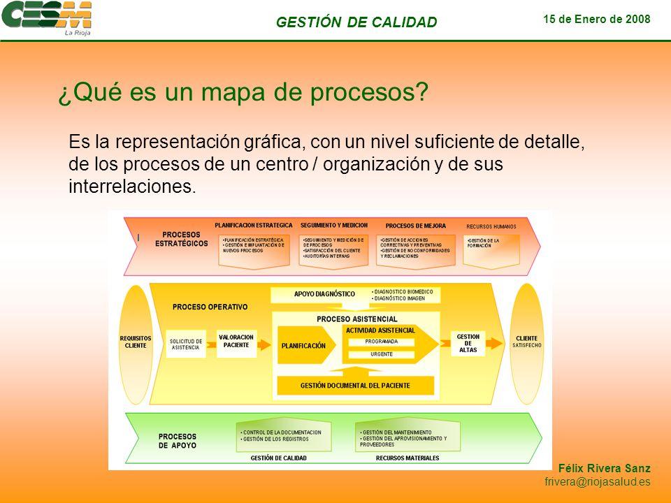 GESTIÓN DE CALIDAD 15 de Enero de 2008 Félix Rivera Sanz frivera@riojasalud.es ¿Qué es un mapa de procesos? Es la representación gráfica, con un nivel