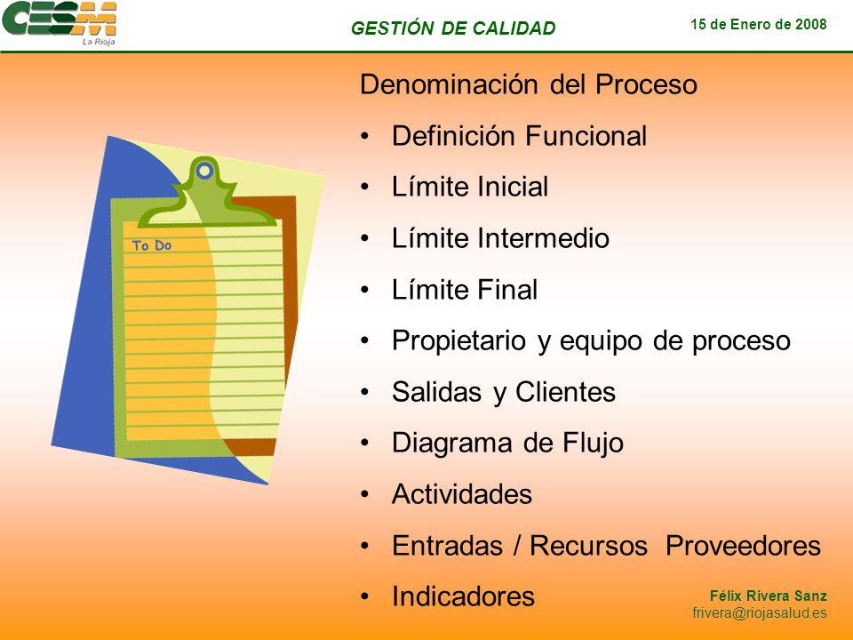 GESTIÓN DE CALIDAD 15 de Enero de 2008 Félix Rivera Sanz frivera@riojasalud.es Denominación del Proceso Definición Funcional Límite Inicial Límite Int