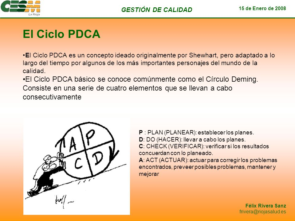 GESTIÓN DE CALIDAD 15 de Enero de 2008 Félix Rivera Sanz frivera@riojasalud.es El Ciclo PDCA El Ciclo PDCA es un concepto ideado originalmente por She