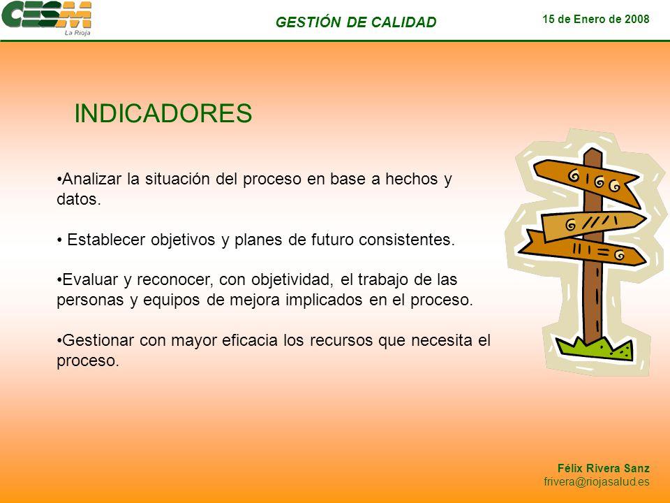 GESTIÓN DE CALIDAD 15 de Enero de 2008 Félix Rivera Sanz frivera@riojasalud.es INDICADORES Analizar la situación del proceso en base a hechos y datos.
