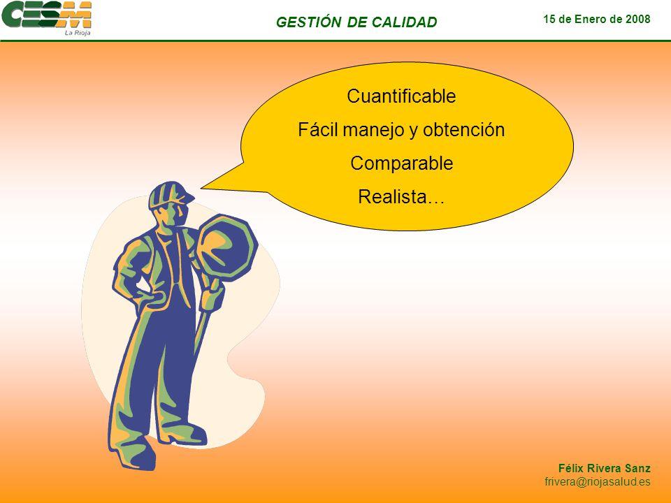 GESTIÓN DE CALIDAD 15 de Enero de 2008 Félix Rivera Sanz frivera@riojasalud.es Cuantificable Fácil manejo y obtención Comparable Realista…