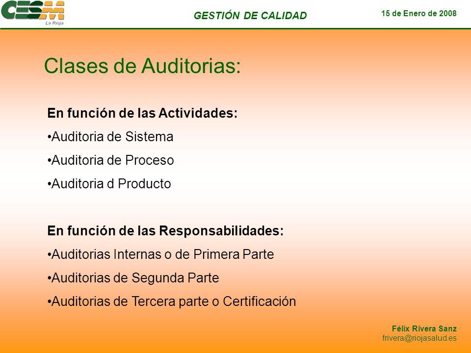GESTIÓN DE CALIDAD 15 de Enero de 2008 Félix Rivera Sanz frivera@riojasalud.es Clases de Auditorias: En función de las Actividades: Auditoria de Siste