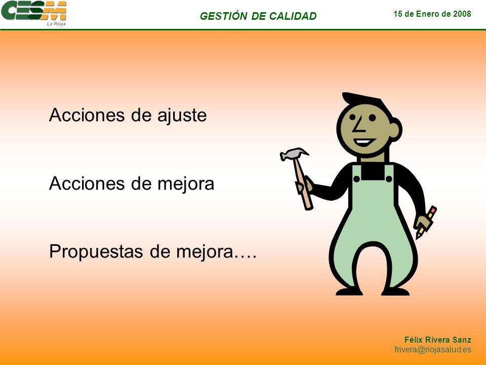 GESTIÓN DE CALIDAD 15 de Enero de 2008 Félix Rivera Sanz frivera@riojasalud.es Acciones de ajuste Acciones de mejora Propuestas de mejora….