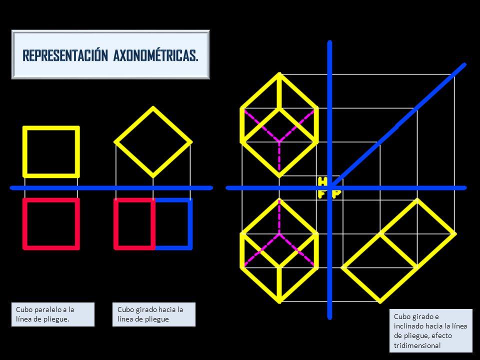 Cubo paralelo a la línea de pliegue. Cubo girado hacia la línea de pliegue Cubo girado e inclinado hacia la línea de pliegue, efecto tridimensional