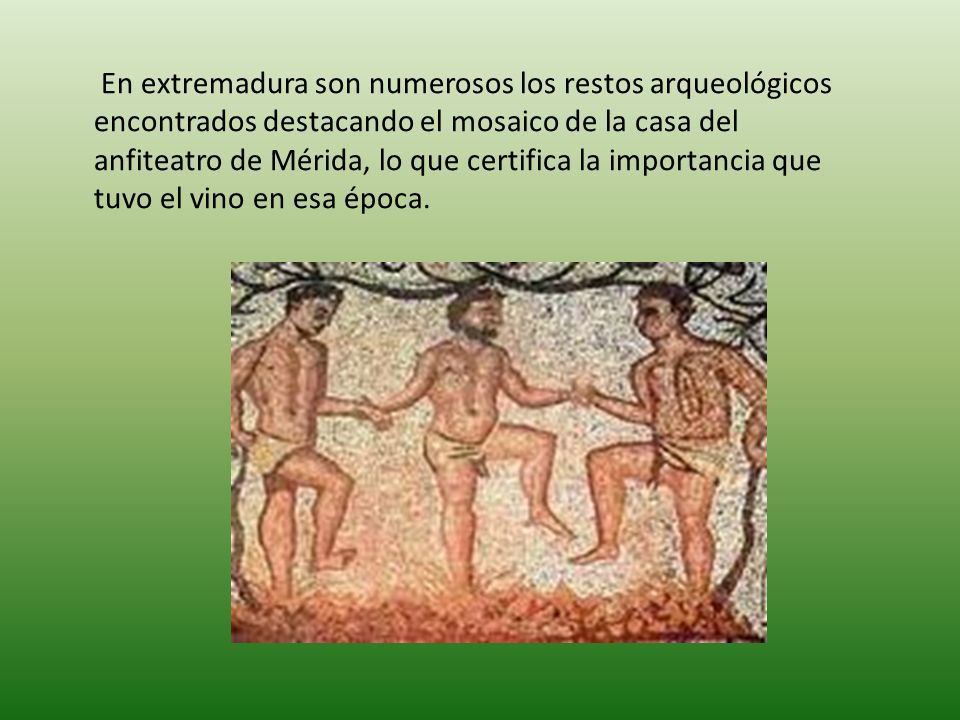 En extremadura son numerosos los restos arqueológicos encontrados destacando el mosaico de la casa del anfiteatro de Mérida, lo que certifica la impor
