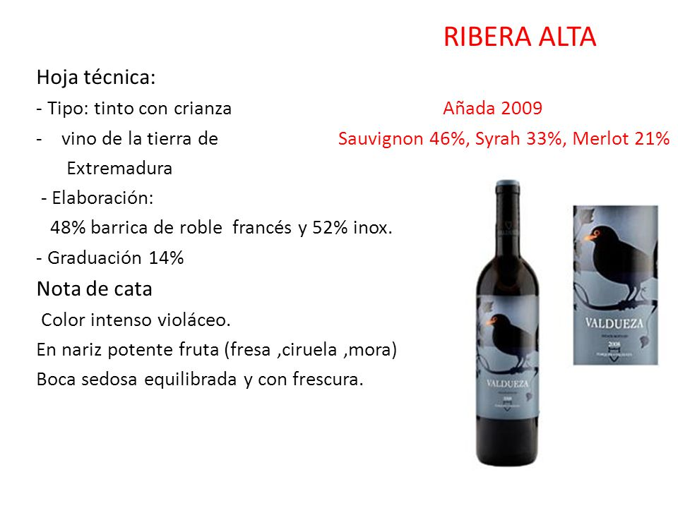 RIBERA ALTA Hoja técnica: - Tipo: tinto con crianza Añada 2009 -vino de la tierra de Sauvignon 46%, Syrah 33%, Merlot 21% Extremadura - Elaboración: 4