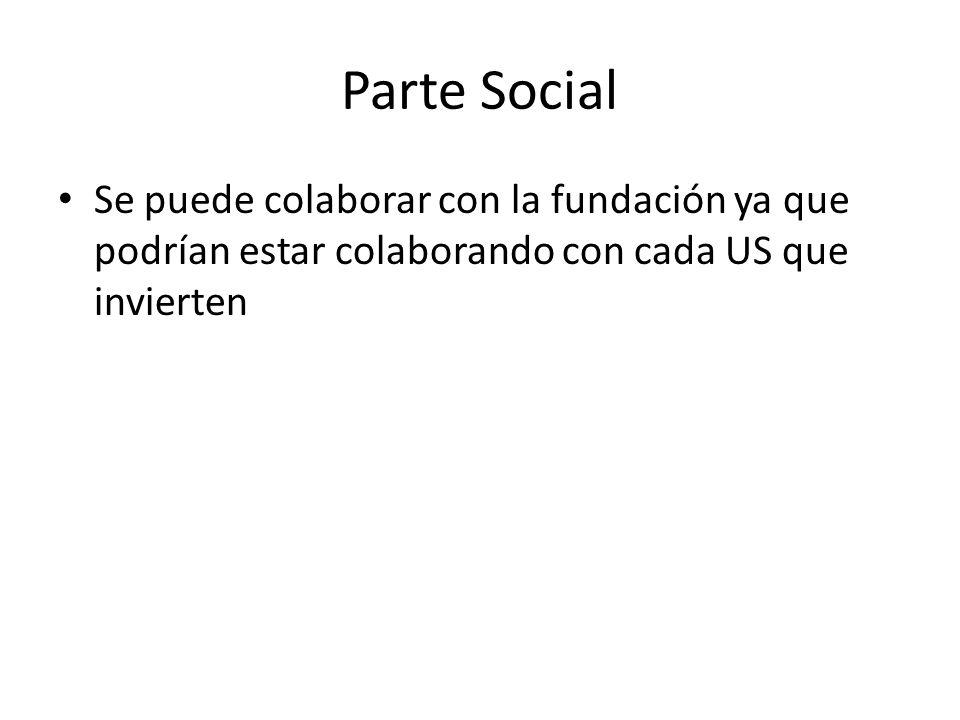 Parte Social Se puede colaborar con la fundación ya que podrían estar colaborando con cada US que invierten