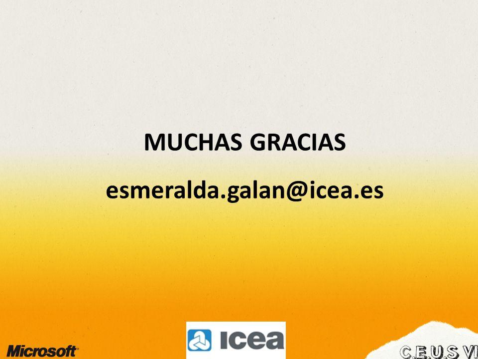 MUCHAS GRACIAS esmeralda.galan@icea.es